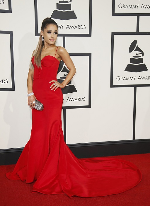 Singer Ariana Grande arrives at the 58th Grammy Awards in Los Angeles