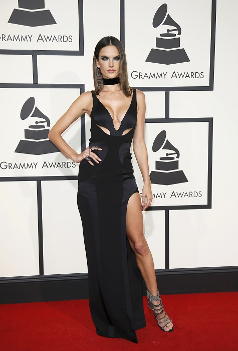 Alessandra Ambrosio arrives at the 58th Grammy Awards in Los Angeles